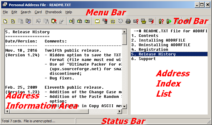 ADDRFILE Program Window